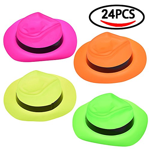 Fun Little Toys Halloween Party Neon Plastic Gangster Hats for Party Supply 24 (Top Hat Buy Cheap)