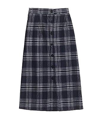 Navy Blue Plaid Long Skirt for Women Cute Lovely Girl Harajuku Korean Maxi Skirts