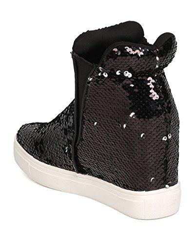 CAPE ROBBIN Women Sequin High Top Hidden Wedge Sneaker GB22 - Black (Size: 11) by CAPE ROBBIN (Image #2)