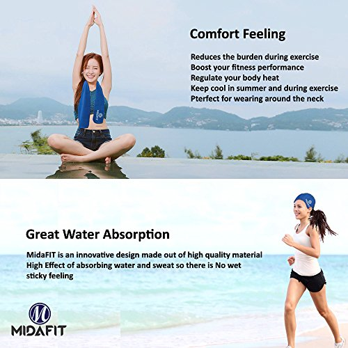 MidaFit Sport Cooling Towel, Workout Towel, Cooling Towel Set - 3 Piece Cooling Towel - 2 Cooling Towel, 1 Hooded Golf Towel, Fitness, Gym, Workout, Camping, Eco Friendly, Machine Washable