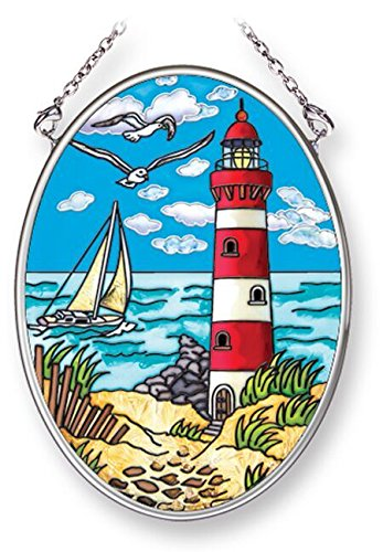 - Amia Red and White Lighthouse with Sailboat, Hand-Painted Glass Suncatcher, 3-1/4 Inches High, 42246, 3-1/4