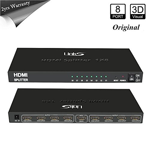 LinkS 1x8 Original 1 in 8 out HDMI Powered Splitter for Full HD 1080P & 3D Support(One Input To Eight Outputs)