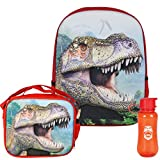 3D Jurassic Dinosaur T-Rex Backpack, Lunchbox, and Water Bottle Back to School