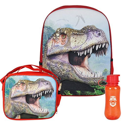 3D Jurassic Dinosaur T-Rex Backpack, Lunchbox, and Water Bottle Back to School (Dinosaurs Perfect Predators)