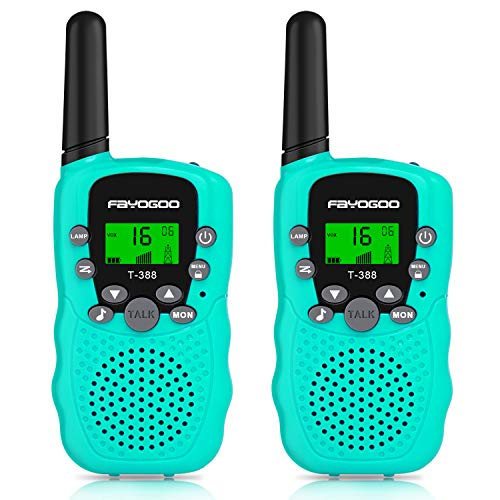 FAYOGOO Kids Walkie Talkies, 22-Channel FRS/GMRS Radio, 4-Mile Range Two Way Radios with Flashlight and LCD Screen, and Toys for 3-12 Year Old Boys and Girls (T388-Blue)