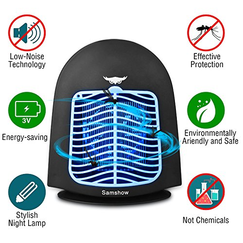 Samshow Bug Zapper&Electric indoor Mosquito Killer - Big Insect Killer - Fly Zapper Catcher - Indoor Insect Trap Lamp - Eliminates Most Flying Pests (Black) by Samshow