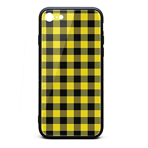 (Phone Case for iPhone 6/6S Black and Yellow Checkerboard TPU Gel Protective Anti-Scratch Fashionable Glossy Anti Slip Thin Shockproof Soft Case)