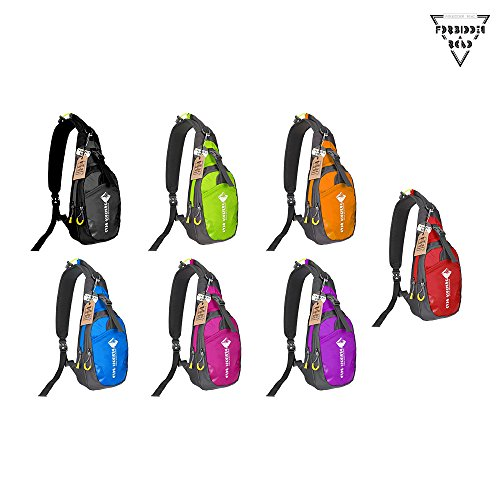 Forbidden Road Sling Bag Hiking Backpack Daypack Camping Shoulder Waterproof Nylon Durable Soft Foldable for Traveling Mountain Climbing Cycling Outdoor Activities – Multi Colors