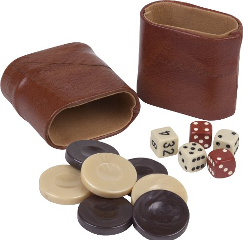 (Aristotle Acrylic Marbleized Backgammon Checkers from Greece , Dice & Two Genuine Leather Dice Cups -Brown/Ivory 1 7/16