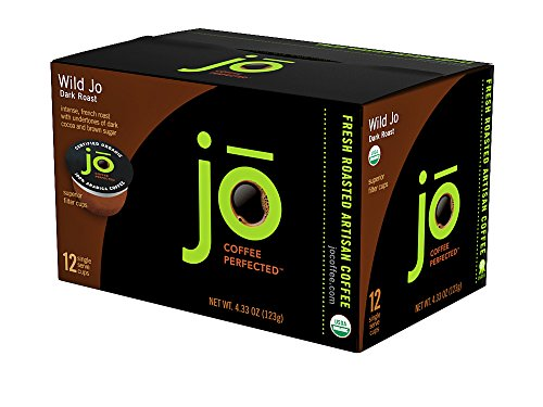 WILD JO: 12 Cup Organic Dark French Roast Single Serve Coffee for Kuerig K-Cup Brewers, Bold Strong Rich Wicked Good! Keurig 1.0 & 2.0 Eco-Friendly Cup, Our Most Popular, Non-GMO Gluten Free Coffee