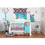 One-Grace-Place-Terrific-Tie-Dye-Crib-Bumper-Aqua-Blue-Royal-Blue-Purple-Yellow-Green-Orange-Pink-Red-and-White
