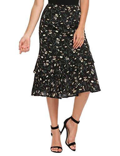 Zeagoo Womens Bohemian Style High Waist Floral Print Slim Ruffles Midi Mermaid Summer Skirt