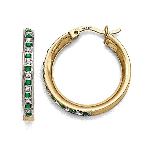 Sterling-Silver-Gold-plated-Natural-Diamond-Natural-Emerald-Round-Hoop-Earrings