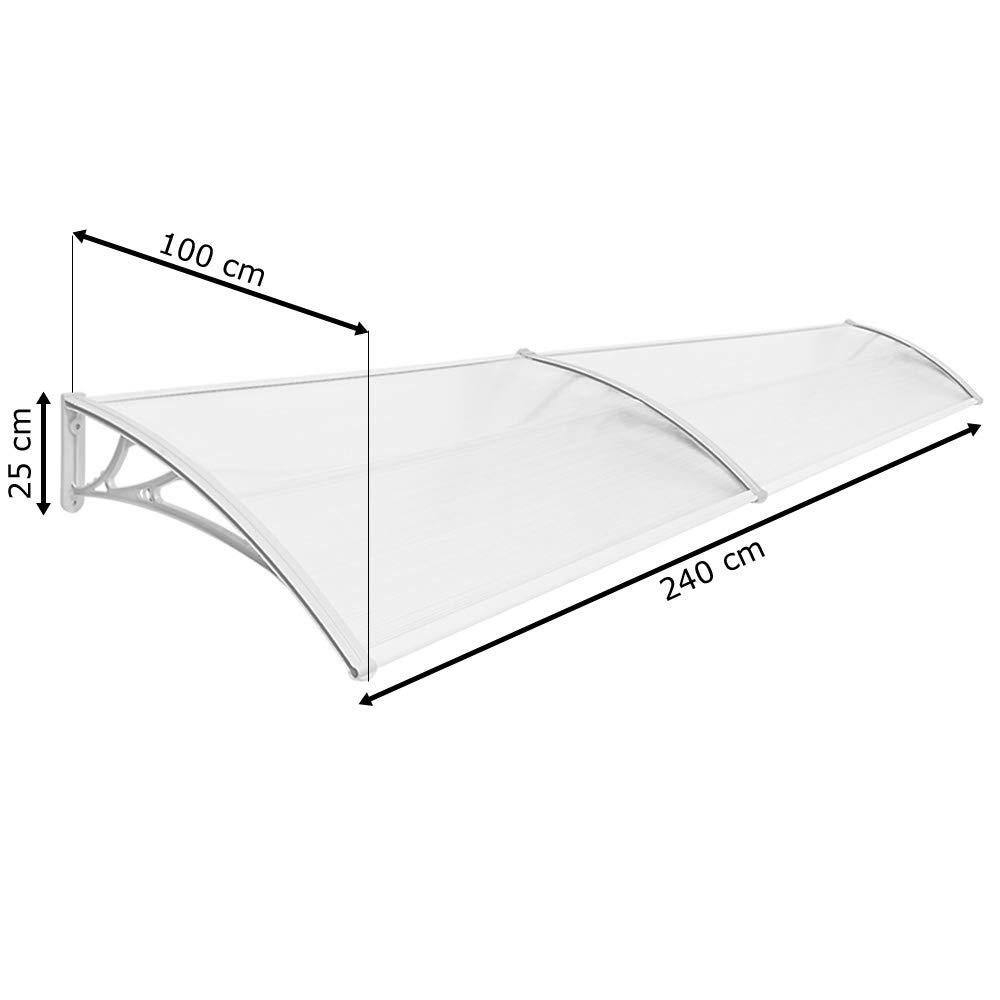Vordach Haust/ür Terrassent/ür /Überdachung Haust/ürdach Pultvordach Alu Kunststoff Transparent 240 x 100 cm V2Aox