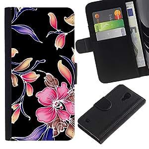Planetar® Modelo colorido cuero carpeta tirón caso cubierta piel Holster Funda protección Para Samsung Galaxy S4 IV I9500 ( Retro Tela Wallpaper Rústico Diseño floral )