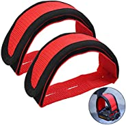 HQdeal 1 Pair Universal Bicycle Fixed Strap Anti-Slip Double Adhesive Pedal Toe Clip Strap Cycling Pedal Acces