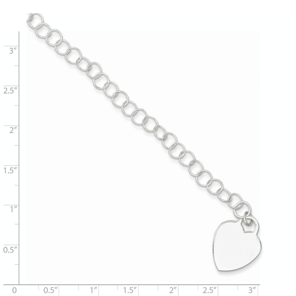 Sterling Silver Engraveable Heart Childs Bracelet