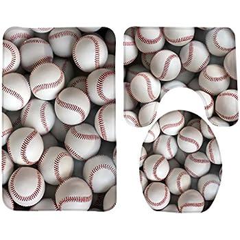 Wondertify Bath Mat,Baseball,Vintage Baseballs Bathroom Carpet Rug,Non Slip  3
