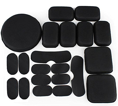Motorcycle Pads Helmet - Myheartgoon Tactical Airsoft Helmet Accessories Cs Helmet EVA Mats, Vel cro 19 Pads Set for The Army ACH MICH Fast Helmet Free Vel Cro, Black