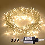 JMEXSUSS 100LED 49.2ft Indoor String Light Christmas Lights Fairy String Lights 30V 8 Modes for Homes, Christmas Tree, Wedding Party, Bedroom, Indoor Wall Decoration (100LED, Warm White)