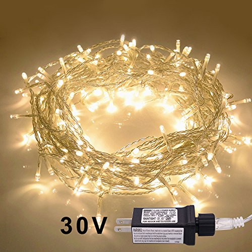 JMEXSUSS 100LED 49.2ft Indoor String Light Christmas Lights Fairy String Lights 30V 8 Modes for Homes, Christmas Tree, Wedding Party, Bedroom, Indoor Wall Decoration (100LED, Warm -