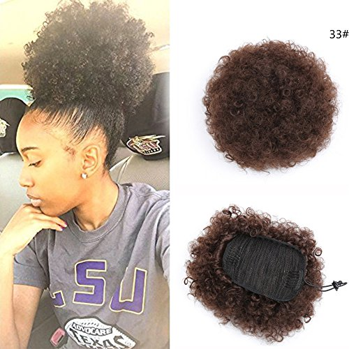 (African American Afro Short Kinky Curly Wrap Drawstring Puff Ponytail Bun Extension (33#))