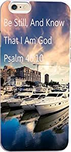 Case for Iphone 6 Bible Verses,Topgraph Apple Iphone 6 Christian Quotes Hard Slim Case Cover Protector Be Still, And Know That I Am God Psalm 46:10 Blue sky and white clouds several aircraft yacht