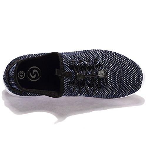 Chui Mens Sneakers Låg Vikt Med Hög Elastiska Stickade Bekväma Promenadskor För Kvinnor Marinen