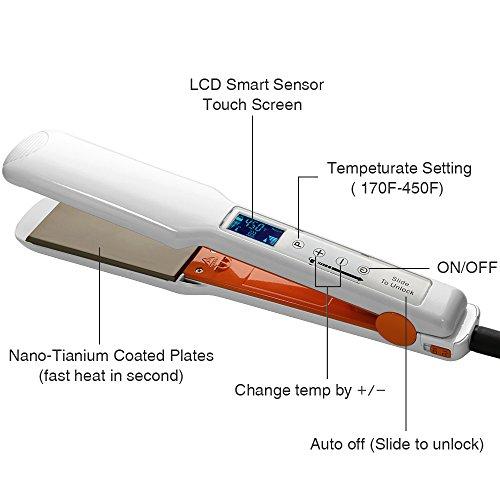KIPOZI Digital Hair Straightener 175 Inch Flat Iron With Nano Titanium PlateLCD Touch ScreenKeratin TreatmentWhite