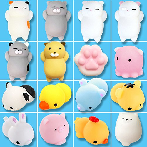 Squishy Toys, Eutreec 16 Pcs Animal Squishies Mochi Squeeze Toys Soft Squishy Stress Relief Animal Toys Kawaii Animal Squishy Mini Cat Rabbit Chick Pig Tiger (Rabbit Chick)