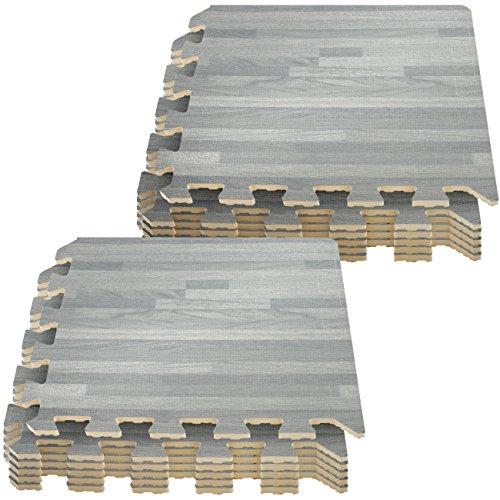 Sorbus Interlocking Floor Mat – Wood Print Multipurpose Foam Tile Flooring – Home, Office, Playroom (12 Tiles,12 Sq ft, Gray)