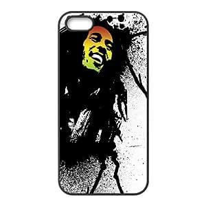 Bob Marley Sonrisa Dreadlocks Cara Camisa 4 caja del teléfono 4S Cell 1695 funda iPhone Negro caja del teléfono celular Funda Cubierta EEECBCAAH77287