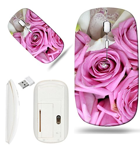 Luxlady Wireless Mouse White Base Travel 2.4G Wireless Mice with USB Receiver, 1000 DPI for notebook, pc, laptop, macdesign IMAGE ID: 24682647 Pink Roses And White Orchid Bouquet - Bouquets Images