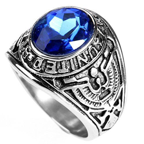 LOPEZ KENT Vintage Mens Stainless Steel Eagle US Army Ring with Blue Oval CZ Stone,Size - Stainless Kent