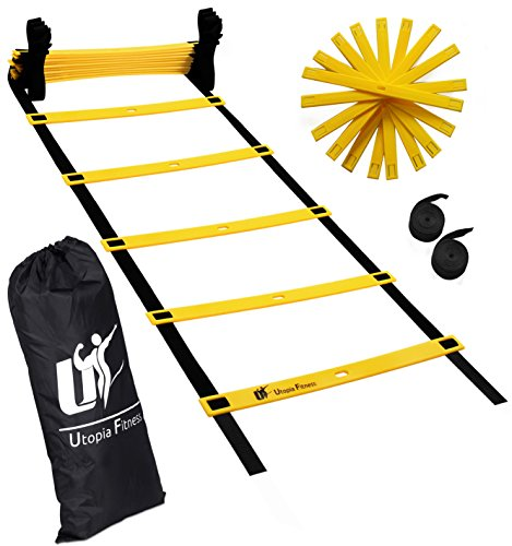 Agility Ladder for Fitness & Training - Training Ladder With Adjustable 12 Rungs Anti-Crack Design Speed Ladder - Fitness Ladder With Carrying Bag - By Utopia - Partner Ladder