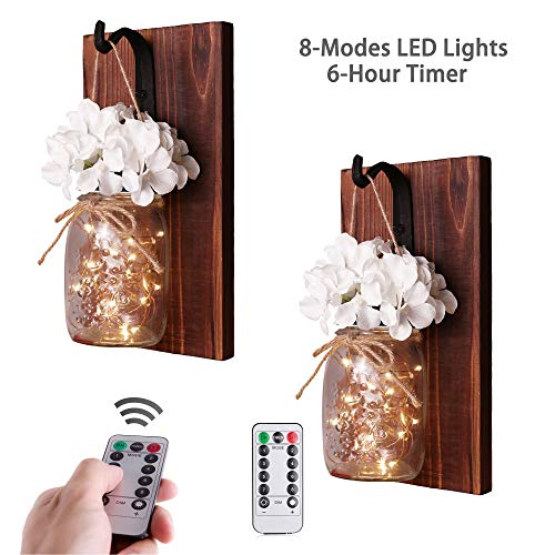 (CALATOUR Mason Jar Decor Wall Sconce,16OZ Mason Jars,20 LED Lights with Remote Control,Wrought Iron Hooks,Wood Boards,Silk Flowers(Set of 2))