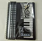 Music Themed Stationery Notebook Set - Black Keyboards Spiral Bound Notebook, Piano Eraser, Treble Clef Clip and 4 Musical Notes Pencils