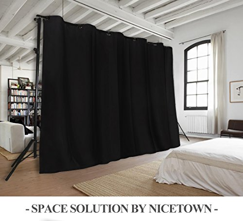 NICETOWN Room Divider Blackout Curtains Grey Beige Black White Cappuccino Color Option 8 15ft Wide X