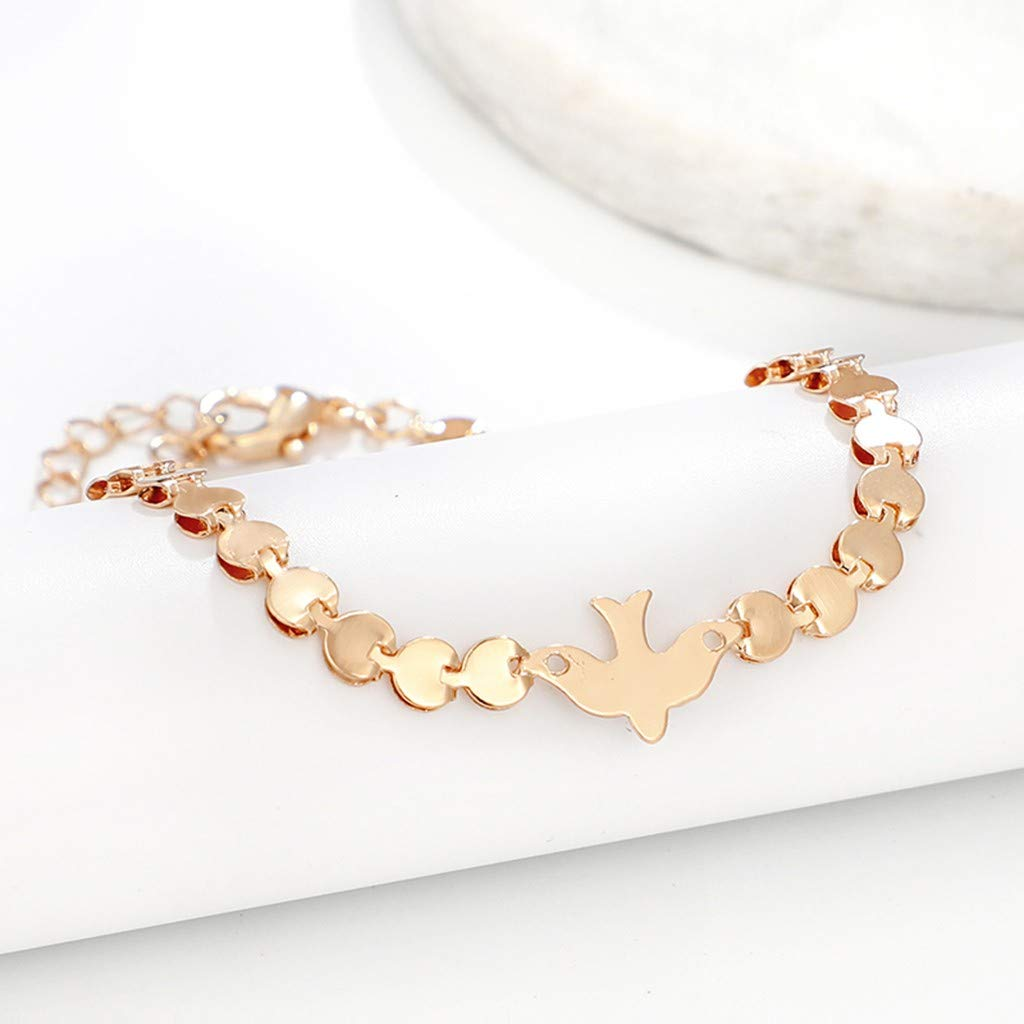 CapsA Geometric Round Chain Round Chain Bird Animal Ankle Chain Bracelet Gold