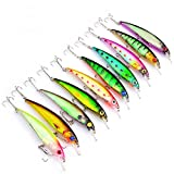 10Pcs/Lot 4.4inch 0.47oz Artificial Bait Minnow Fishing Lures Plastic Hard Baits Lure Fishing