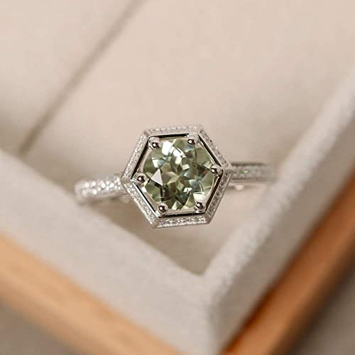 Green amethyst ring sterling silver engagement ring brilliant cut