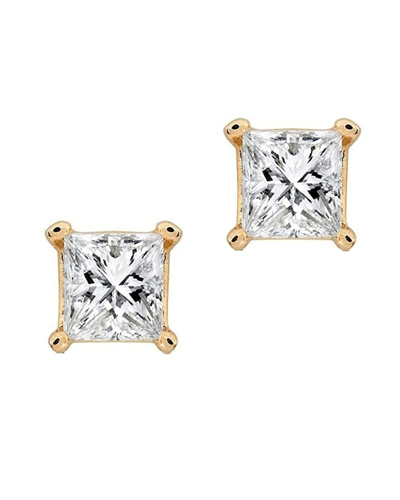 CDM product Princess Square Cut CZ 14K Yellow Gold Basket Set Screw Back Stud Earrings 5mm big image