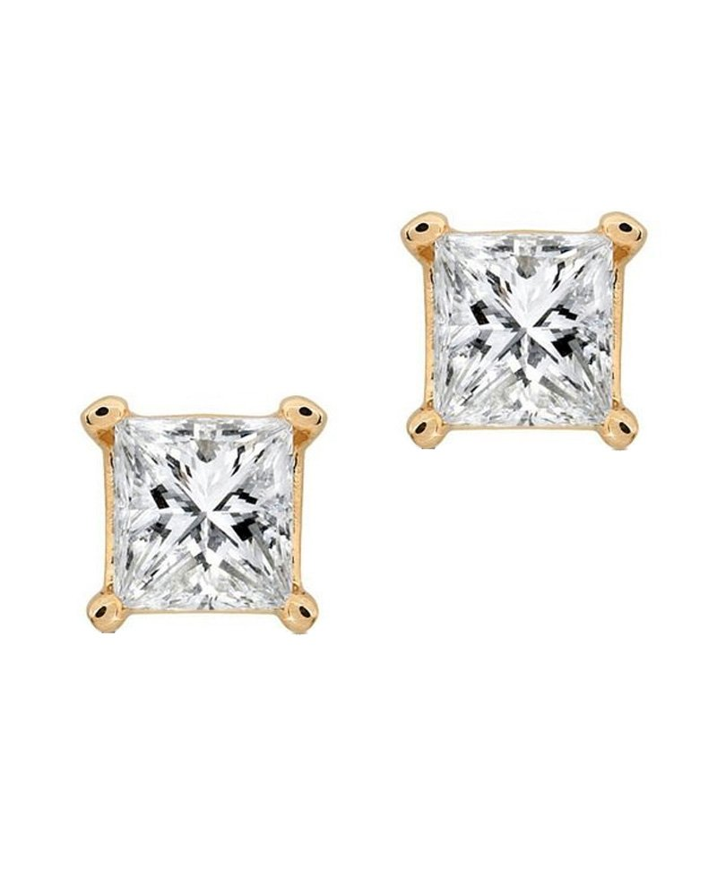 Princess Square Cut CZ 14K Yellow Gold Basket Set Screw Back Stud Earrings 6mm