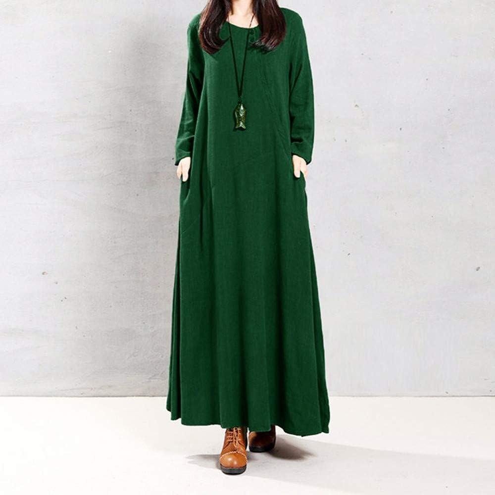 Übergröße Leinen Einfarbig A-Linie Langes Kleid Beige Büste bis zu 132cm XL-XXL