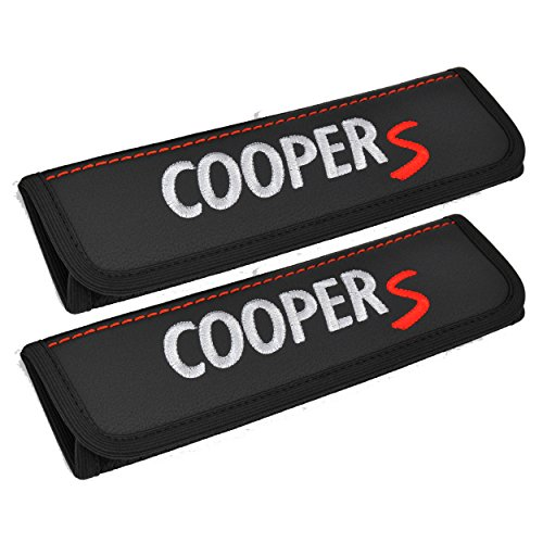 (Seat belt covers for adults Black shoulder pads Seatbelt cover pad with embroidered grey and red emblem Car interior accessories compatible for Mini Cooper S Great idea for a Gift)