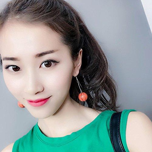 (Net new fashion creative personality Funny red earrings sporty basketball earrings earrings non pierced earrings pendants)