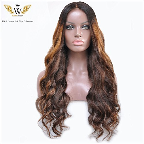 6A Goddess Wiggie Brazilian Human Hair Silk Top Glueless Full Lace Wigs 150% Density Ombre Color Wavy Wigs for Women (22inch) by Goddess