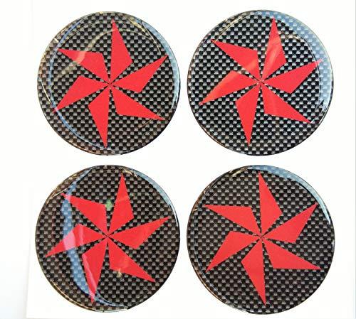 60 mm Turbine Blade Fan Domed Wheel Cap Hub Decal Decals Center Black Red Reflective Kevlar Carbon Fiber 4 Pcs Gloss 3D Gel Rear Resin Motorcycle Sticker Badge Trunk Truck - Center Domed
