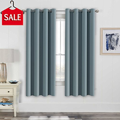 H.Versailtex Elegant Thermal Insulated Blackout Curtains - Nickel Grommet Window Drapes for Living Room/Bedroom - Stone Blue - 52