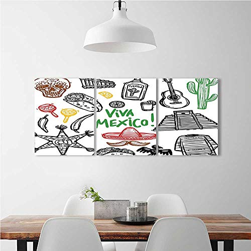 aolankaili Triptych Paintings Combination of Decorative Frameless Sketch Latin Object with Burritos Guitar Tequila Bottle Pinata Quetzal for Living Room, Bedroom,Hotel and so on W24 x H35 x (Winnie The Pooh Pinatas)